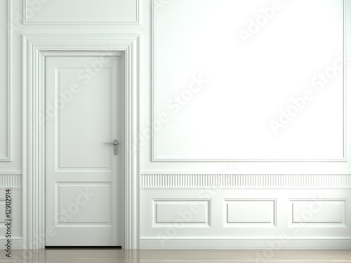 Fotografie, Obraz  white classic wall with door