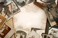 Bordering Of Old Photos From Family Album
