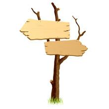 Wooden Signboard. Vector.