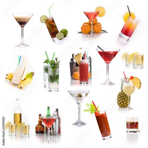 Fotografie, Obraz  Cocktailkarte - viele verschiedene klassische Cocktails