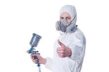 Worker With Airbrush Gun Giving Thumbs Up
