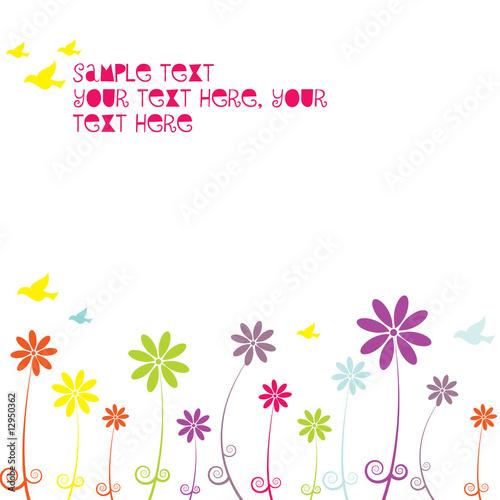 Poster Hibou Floral background