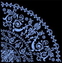 Blue Curled Quadrant Ornament