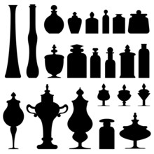Bottles, Urns, And Glass Containers From Apothecary Or Herbalist
