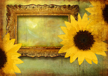 Vintage Background With Frame And Sunflowers