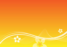 Orange Background Design With Flowers