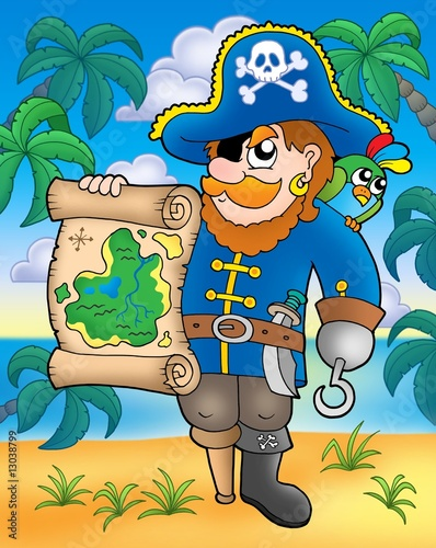 Poster Piraten Pirate with treasure map on beach