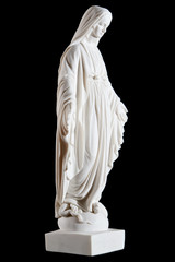 white marble statue of Mary (mother of Jesus) isolated on black