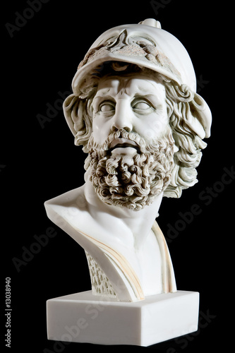Classical painted marble Zeus Bust isolated on black Canvas Print