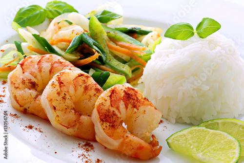 Photo Stands Ready meals Garnelen mit Reis