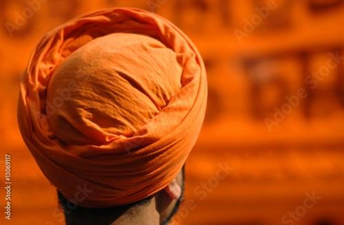 Sikh head in orange turban Fototapeta