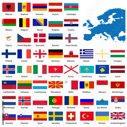 official list of all european country flags and map buy this stock