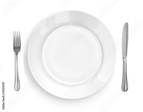 Fotografie, Obraz  Place Setting with Plate, Knife & Fork