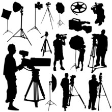 Cameraman And Film Objects Vector
