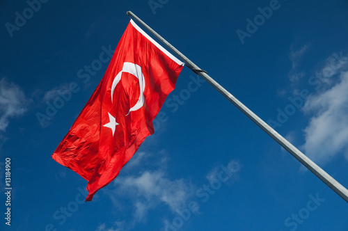 Photo  Turkish flag on the wind