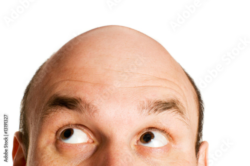 bald head isolated Wallpaper Mural