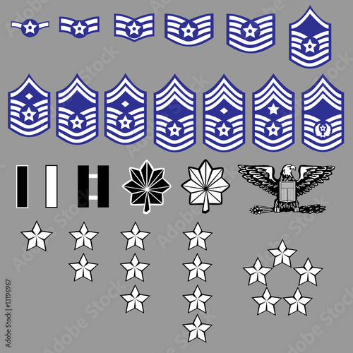 Us Air Force Rank Insignia For Officers And Enlisted In Vector Buy