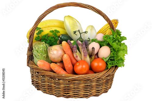 Fotografie, Obraz  un panier de légumes frais.