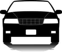 American Sedan Silhouette. Vector Design Element.