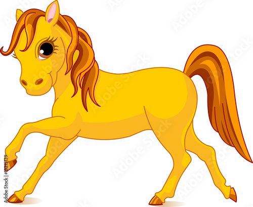 Garden Poster Pony Vector Illustration of walking beautiful yellow horse
