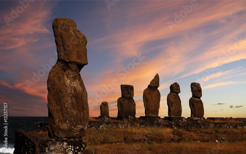 Foto-Kassettenrollo premium - Easter island (von Galina Barskaya)