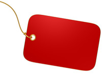 Blank Red Tag Isolated On Whit...