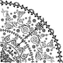 Black Curled Quadrant On White