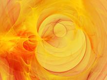 Digitally Rendered Abstract Orange Fractal Flame Storm. Backgrou