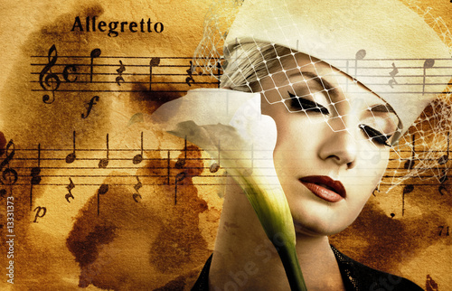 Beautiful woman over abstract melody background Canvas Print