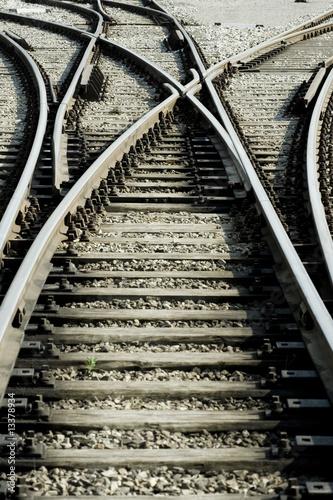 Foto auf Leinwand Eisenbahnschienen Entscheidung