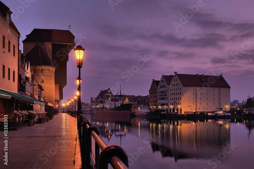 Riverside of Gdańsk at dawn