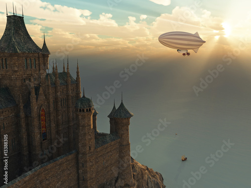 fantasy castle and flying zeppelin at sunset - 13388305