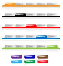 Set Of Vector Aqua Web 2.0 Site Navigation Tabs And Buttons.