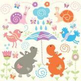 Fototapeta Dla Dziewczynek hipopotam sztuka kwiat