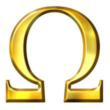 3D Golden Greek Letter Omega