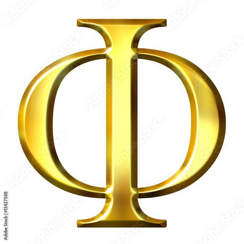 Photo  3D Golden Greek Letter Phi