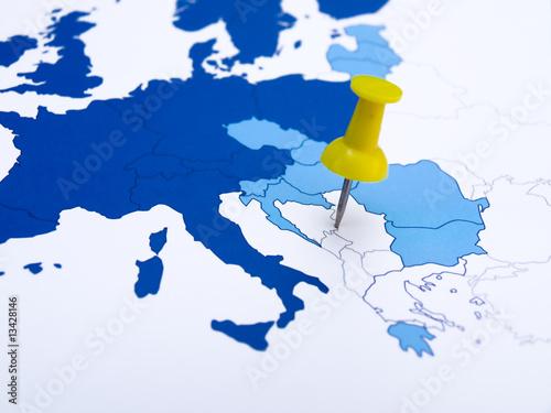 Keuken foto achterwand Oost Europa Map Balkans and Pins