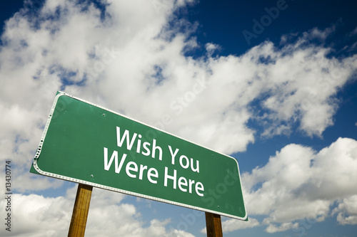 Wish You Were Here Road Sign Canvas Print