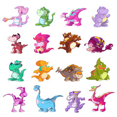 collection of cute cartoon dinosaurs