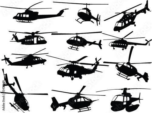 Photographie big collection of helicopters - vector