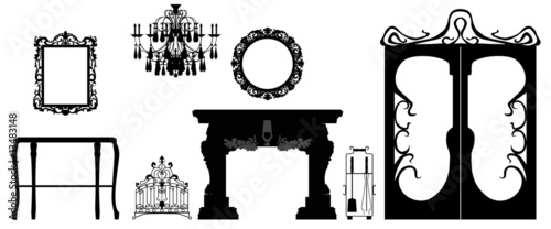 Collection of editable vector furniture and decoration silhouett Canvas Print