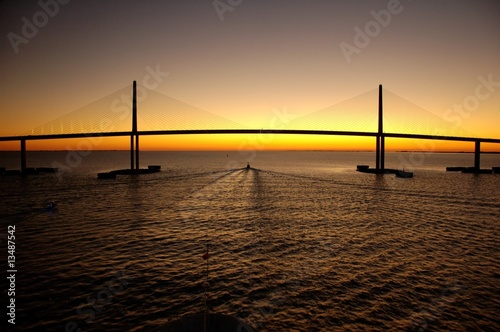 Photo  Bridge at sunset