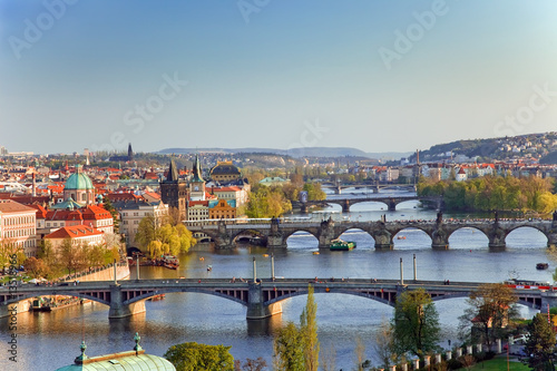 Fotobehang Praag View on Prague Bridges at sunset