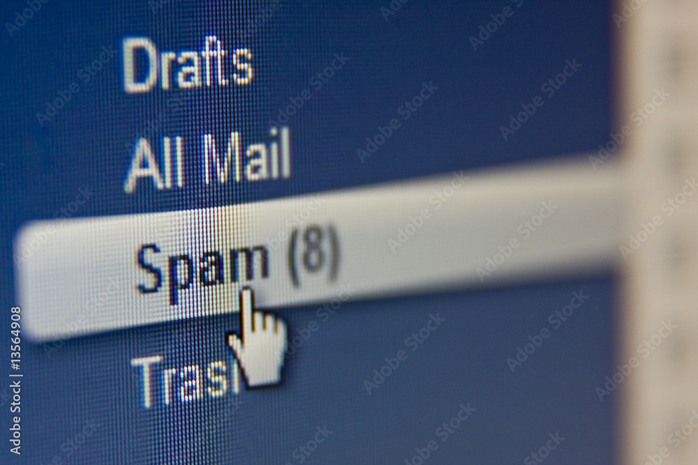 Fototapeta LCD macro photo, spam e-mail message concept shot