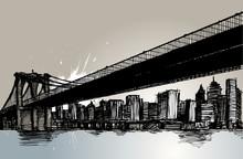 Bridge And City Hand Drawing Vector