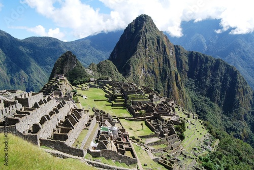 View of Machu Picchu from agricultural terraces