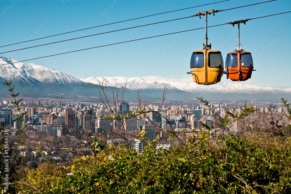 Fototapety, obrazy: Cable car in San Cristobal hill, Santiago de Chile