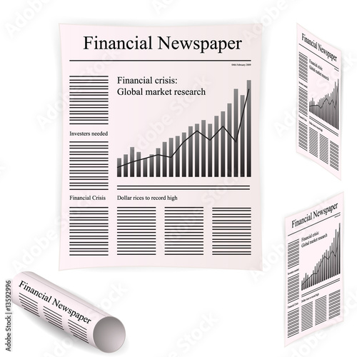 Valokuva  Frontpage of financial newspaper showing economical news