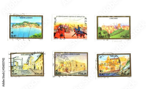 Italian stamps, buildings and historical episodes Fototapet
