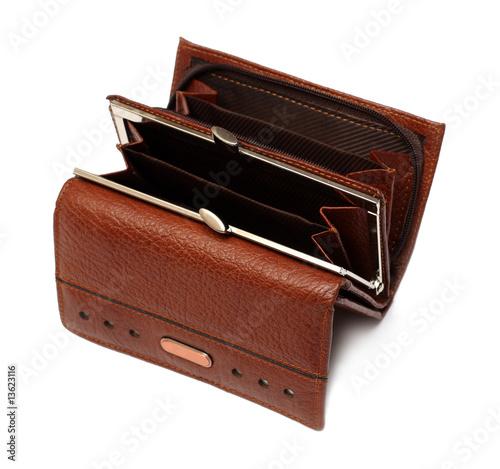 Fototapeta open empty brown purse obraz na płótnie